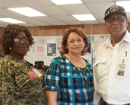 Dorothy Manning, Damary Mercado and Augustus Simpson